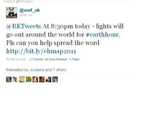 Tweet from WWF to Rktweets