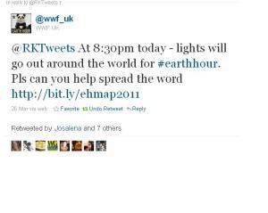 Tweet from WWF to Rktweets